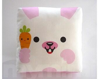 "7 x 7"" Animal Pillow, Bunny Pillow, Woodland Critter, Decorative Pillow, Stuffed Animal, Kids Throw Pillow, Animal Theme, Nursery Room Decor"