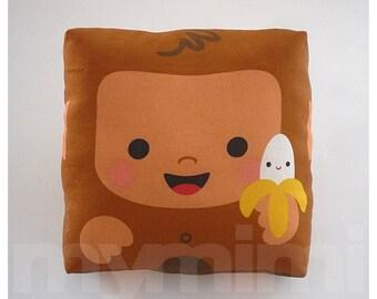 "Jungle Animal, Monkey Pillow, Kawaii Monkey, Brown Pillow, Decorative Pillow, Stuffed Animal, Kids Room Decor, Childrens Toys,7 x 7"""