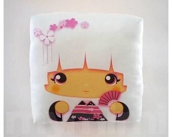 "Kawaii Girl, Girls Pillow, Geisha Pillow, White Pillow, Japanese Kokeshi Doll, Kawaii Print, Throw Pillow, Girls Room Decor, Dorm, 7 x 7"""