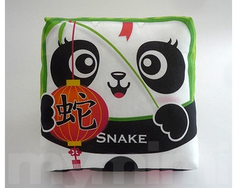 Chinese Zodiac The Year of the Snake, Chinese Zodiac Print, Chinese Astrology, Animal Pillow, 7 x 7""