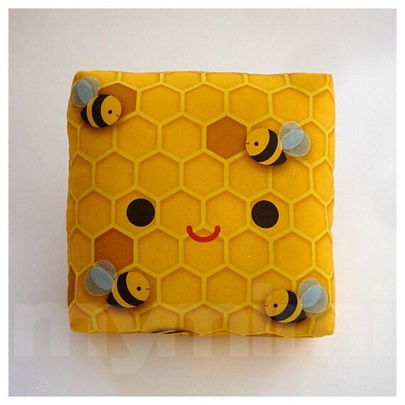 Decorative Pillow, Bee Pillow, Beehive, Yellow Pillow, Throw Pillow, Kawaii Stuff, Home Decor, Kids Room Decor, Playroom Decor, Toys, 7 x 7