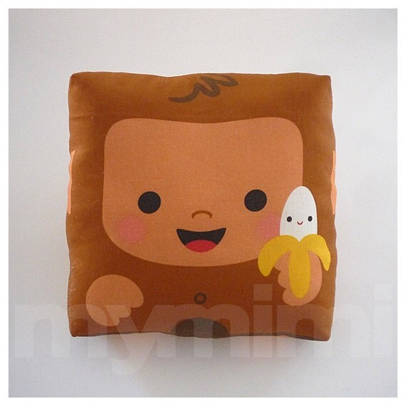 Jungle Animal Pillow : Jungle Animal Monkey Pillow Kawaii Monkey Brown Pillow