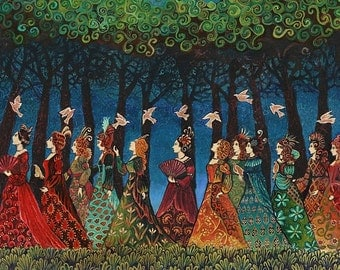 Twelve Women with Birds Sacred Grove 20x24 Poster Print Pagan Mythology Psychedelic Bohemian Gypsy Goddess Art