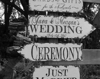 Vintage Wedding Sign Package. 4 Signs. Wedding Sign. Wedding Decor. Rustic Wedding. Wedding Ceremony. Wedding Reception.
