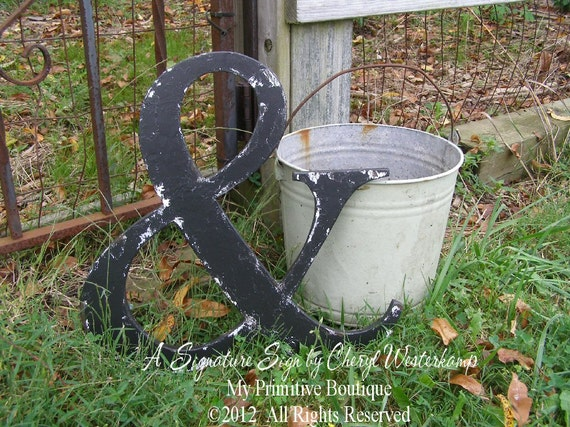 Wooden Distressed BLACK AMPERSAND SYMBOL, Large Cut Out Wooden Letters, Choose Color, Nursery Decor, Wedding Decor
