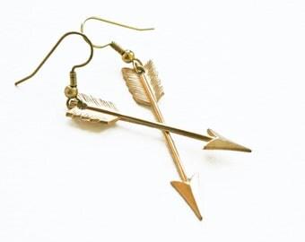 Straight Arrow / Brass Arrow Earrings / Archery Earrings / Gift