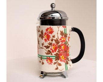 French Press Coffee Cozy - Vintage Vines and Flowers Style -