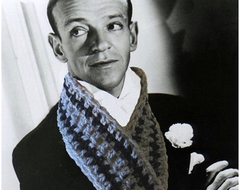 Crochet Scarf Pattern Fred Astaire - Fast Easy Unisex DIY Instant Download PDF