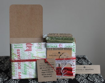 Holiday Gift Wrap Kit - boxes, tissue paper, tags, and ribbon