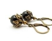 Black Pearl Earrings, Pearl Earrings, Free Shipping USA, Steampunk Wedding, Swarovski Black Pearls, Black Earrings, Bohemian Bridesmaid Gift