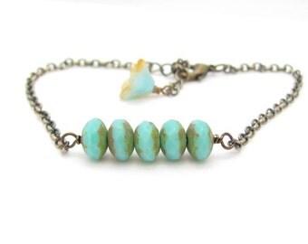 Turquoise Bracelet Faceted Blue Green Czech Glass Beads Hawaii Friendship Bracelet Hawaiibeads Hawaiian Jewelry