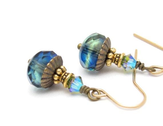 Blue Earrings Deep Ocean Blue Green Glass Swarovski Crystal 14kt Gold Fill Hawaiibeads Hawaiian Jewelry