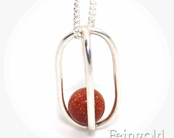 Silver Necklace with Goldstone Sphere Pendant - Sterling Silver Chain - Free US Shipping
