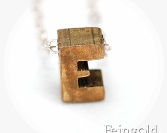 Letter E - Necklace - Tiny Vintage Brass Initial Pendant on Sterling Silver Chain - Free US Shipping