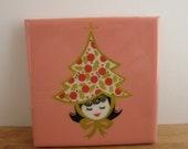 Tree Hat Christmas Tile Coaster