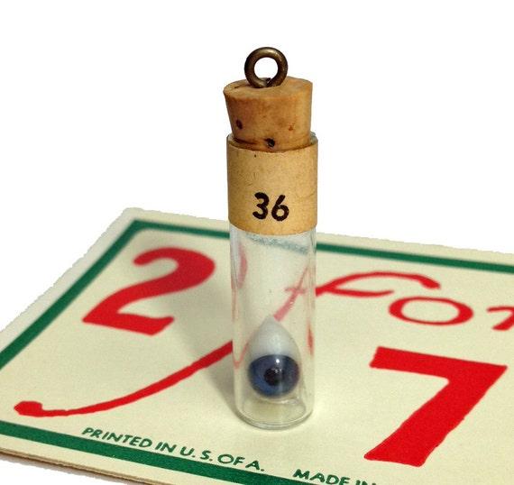 ANTIQUE EYE PENDANT Miniscule Tiny Glass Model B