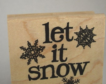 let it snow snowflake rubber stamp