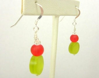 Christmas Earrings - Lime Green Resin Coins and Red Round Beads w/ Sterling Silver Earwires - Holiday Collection 2012