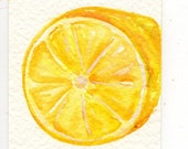 ACEO Lemon  Watercolor Painting, Art Card, Small Fruit Painting, Lemon Art, small Kitchen Wall Art, Original miniature painting