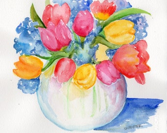 Tulips, hydrangeas original watercolor painting.  8 x 10 Small flower artwork, watercolor flowers, floral wall art Sharon Foster Art floral