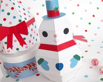 Snowman, Snowgirl and Tree Treat Boxes Printable Paper Christmas Crafts