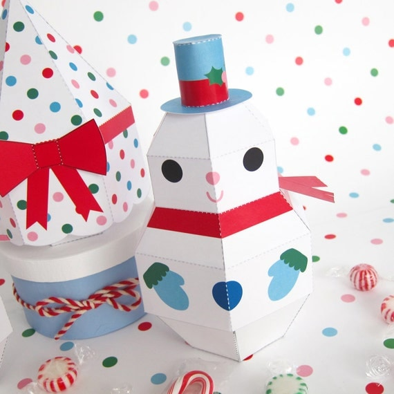 snowman snowgirl and tree treat boxes printable paper