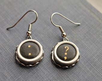 TYPEWRITER KEY EARRINGS Punctuation Vintage Dangle Style