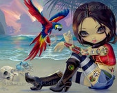 Bootstrap Betsy parrot tattoo pirate wench fairy art print by Jasmine Becket-Griffith 8x10