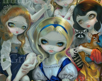 Alice and the Bouguereau Princesses wonderland fairy art print by Jasmine Becket-Griffith 8.3x10