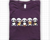 SALE Band o' Pandas American Apparel Eggplant T-shirt