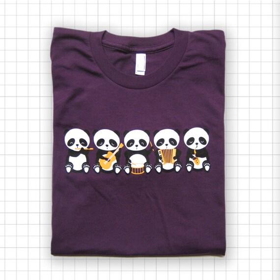 SALE Band o' Pandas American Apparel Eggplant T-shirt