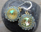 Free Shipping Hand Stitched Rivoli Crystal Earrings with Genuine Swarovski Crystal and Sterling Silver