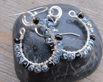 Black and Blue Crystal Sterling Silver Wire Wrapped Earrings
