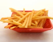 Miniature Basket of French Fries, Miniature Food, Polymer Clay Food