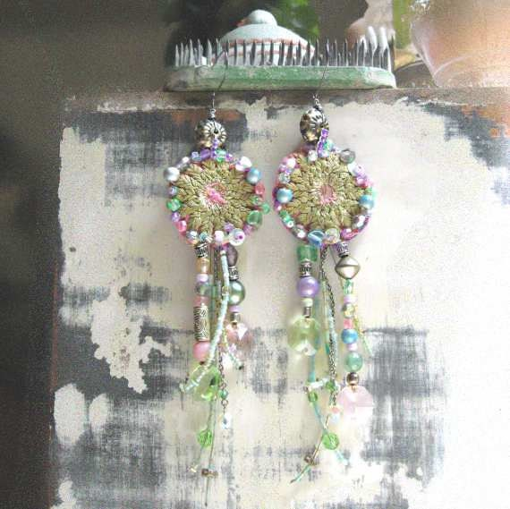 SALE - Eternal Earrings, Long Beaded, Antique Embroidery, Chandelier Crystals, Green, Purple, Pink, Blue, Bohemian