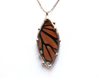 Real Monarch Butterfly Wing Necklace - Petal Shape