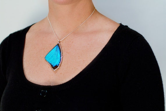 Blue Morpho Butterfly Necklace: Real Butterfly Wing Jewelry
