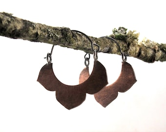 Copper Kikyo Hoops - Sterling Silver and Hand Cut Copper