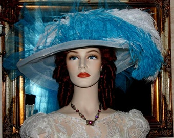 Kentucky Derby Hat Victorian Style Hat - Miss Turquoise Crystal Fairy