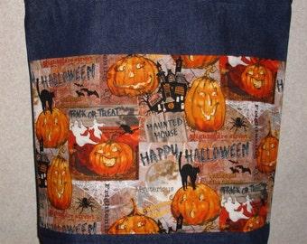 New Large Handmade Funny Jack O Lanterns Pumpkins Halloween Denim Treat Bag