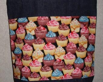 New Medium Handmade Decorated Cupcakes Baker Denim Tote Bag