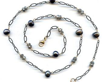 Labradorite And Pearl Necklace FD709
