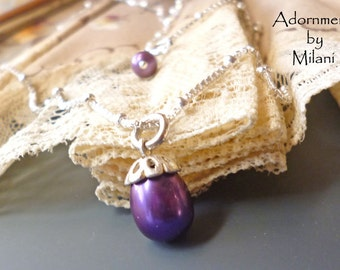 Purple Necklace Dark Drop Pearl Sterling Silver Chain Bridesmaid Matching Set