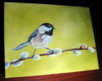 Spring Tidings - Original Oil Bird Painting 7 x 5 Hard Panel