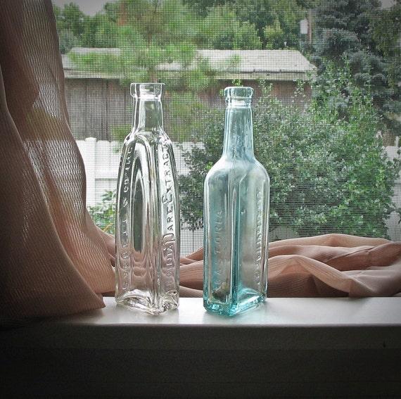 Antique Bottles c1910s-20s Embossed Seafoam Aquamarine Elixir Apothecary Set