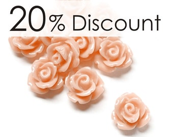 RSCRS-10PE - Resin Cabochon, Rose 10mm, Peach - 50 Pieces (5pk)