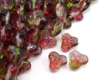 CZLF-04PP - Czech Berry Leaf, 9mm, Peach/Pear - 20 Pieces