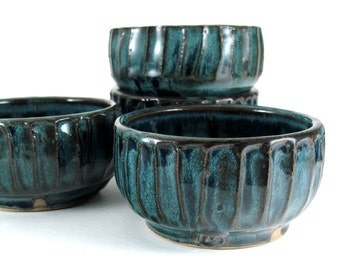 Pottery Snack Bowl Set - Four Snack Bowls in Deep Lagoon - 8 ounce - Dessert Bowls - Ice Cream Bowls