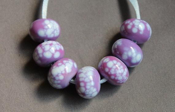 Elizabeth Creations PURPLE HAZE artisan handmade lampwork beads SRA