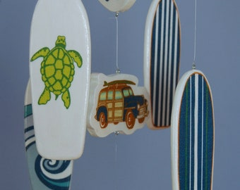 Baby Mobile - Baby Crib Mobile - White and Blue Surf Boards with Woody Car - Surf or Beach Baby Nursery